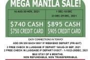 MEGA MANILA SALE - JAPAN AIRLINES!