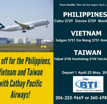 2019 Sale fares with Cathay Pacific Airways!